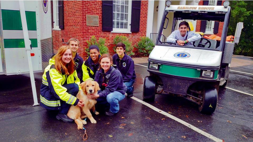 A group of our volunteers with a dog